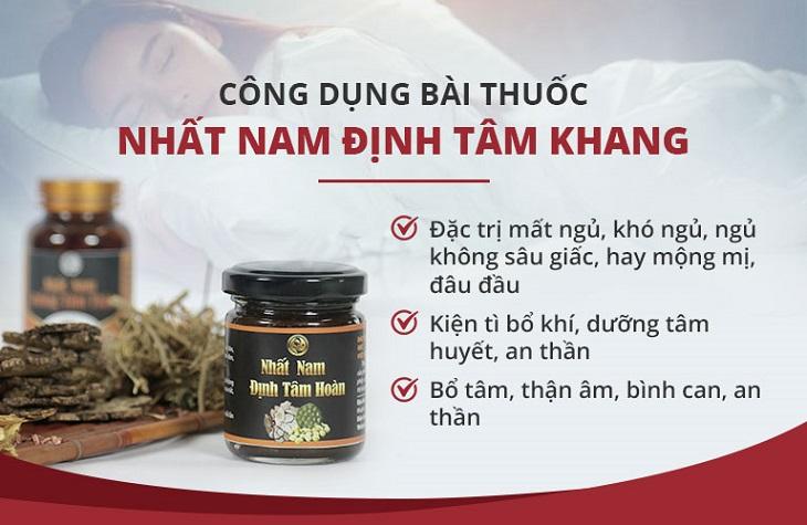 Nhất Nam Định Tâm Khang có nhiều công dụng vượt trội trong điều trị mất ngủ