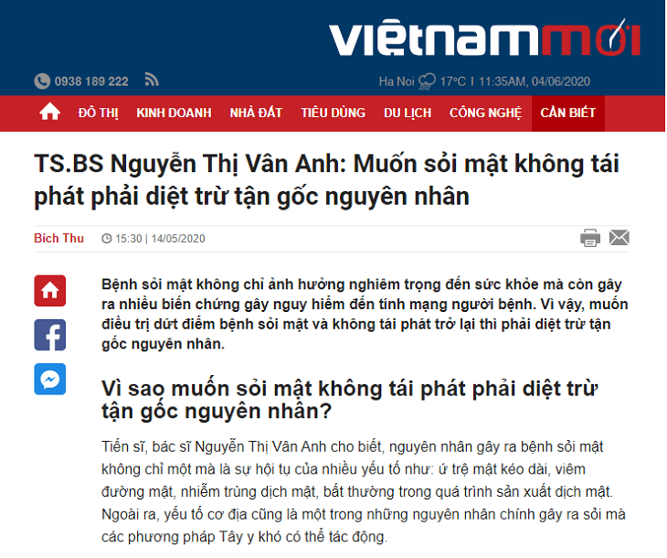 Báo chí đăng tải thông tin về bài thuốc Nhất Nam Tiêu Thạch Khang đặc trị sỏi mật
