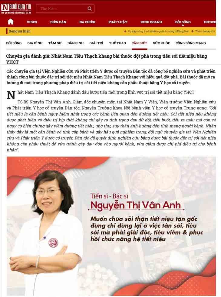 Báo chí viết về Nhất Nam Tiêu Thạch Khang trị sỏi thận