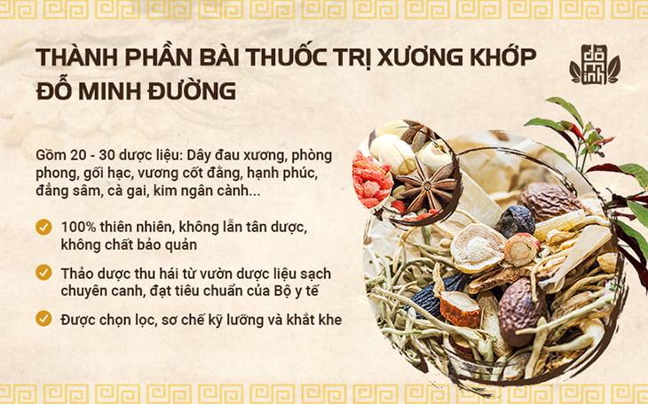Thành phần thảo dược tự nhiên từ bài thuốc trị thoái hóa cột sống của Đỗ Minh Đường