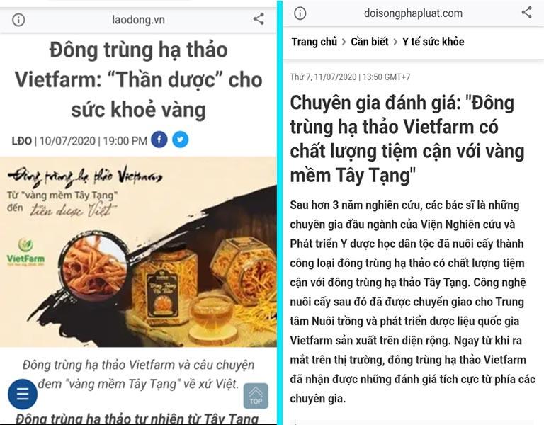Các trang báo điện tử uy tín đồng loạt đưa tin về đông trùng hạ thảo Vietfarm