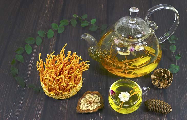 hi pha trà trùng thảo bạn có thể kết hợp thêm một ít nhân sâm để gia tăng thêm công dụng