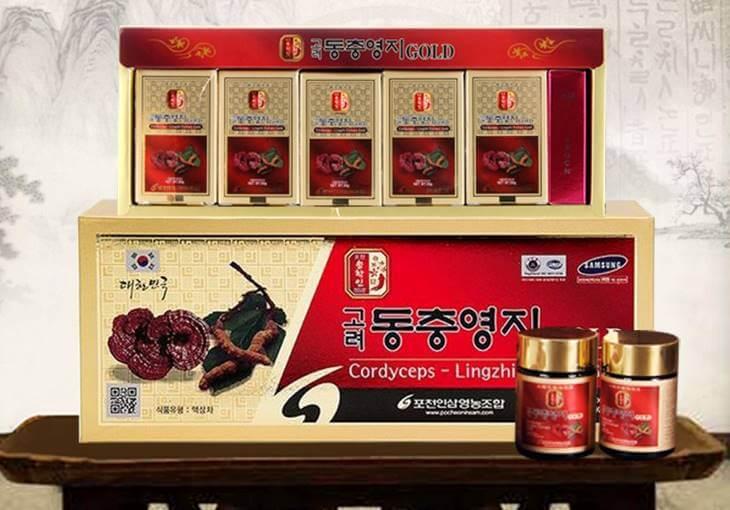 Cao linh chi đông trùng hạ thảo Pocheon một hộp gồm 5 lọ