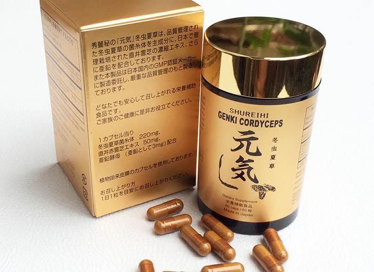 Thực phẩm chức năng Genki với thành phần đông trùng hạ thảo Nhật Bản