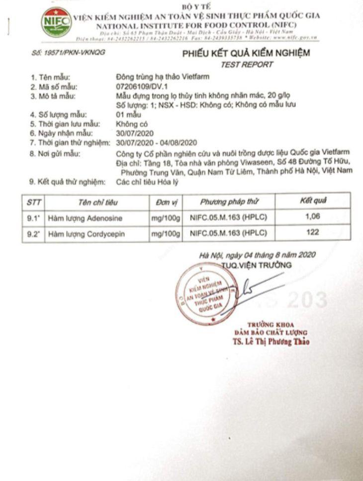 Bộ Y Tế kiểm định hàm lượng hoạt chất trong đông trùng hạ thảo Vietfarm