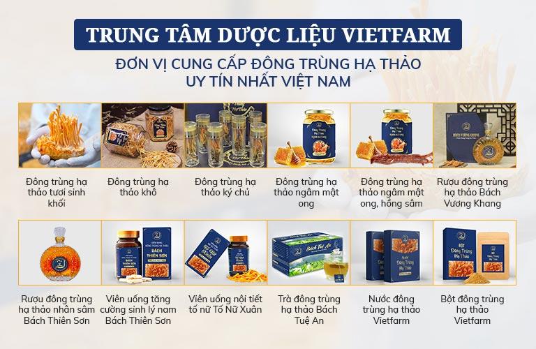 Đông trùng hạ thảo Vietfarm đa dạng sản phẩm phù hợp nhu cầu sử dụng
