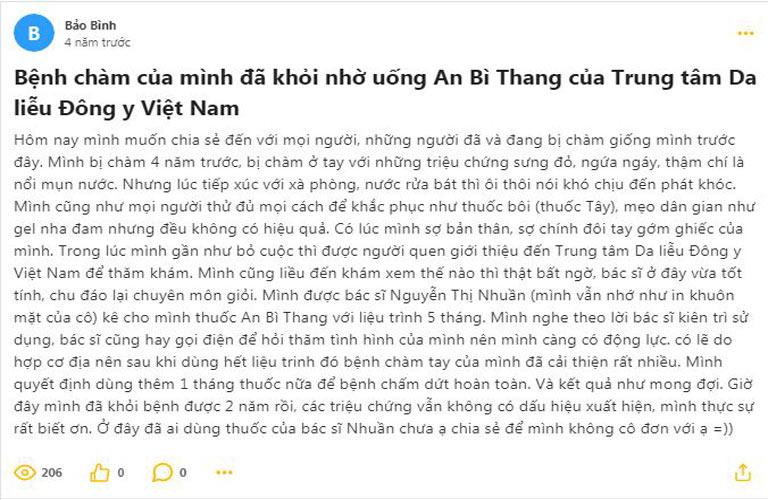 Chia sẻ trên Webtretho, bệnh nhân Bảo Bình cho biết mình đã điều trị khỏi chàm sau 4 năm vận lộn với bệnh