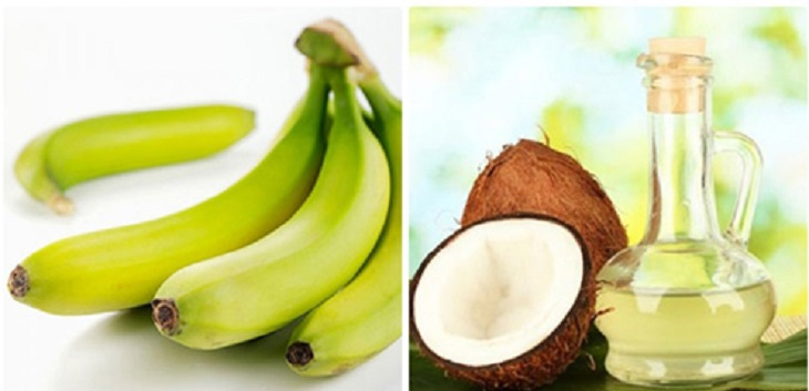 Chuối xanh kết hợp với dầu dừa để trị bệnh chàm