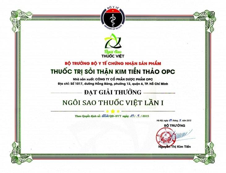 """Năm 2015, Kim Tiền Thảo đạt giải thưởng """"Ngôi sao thuốc Việt lần I"""""""