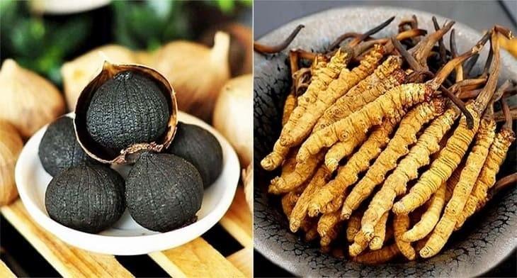 Sản phẩm có sự kết hợp của hai thành phần chính là tỏi đen và nấm trùng thảo