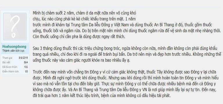 Tài khoảng Hoahuongduong đã điều trị dứt điểm chàm sau 3 tháng sử dụng An Bì Thang