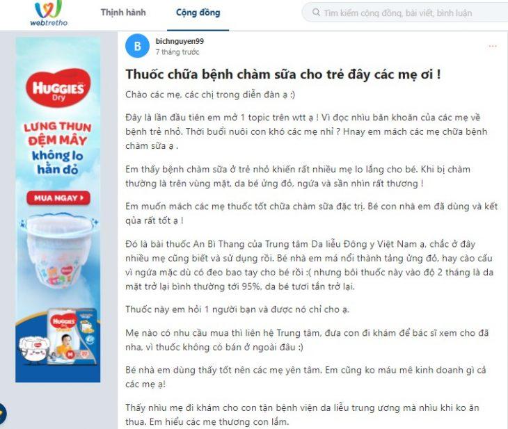 Phụ huynh chia sẻ về bài thuốc An Bì Thang chữa chàm sữa trên webtretho