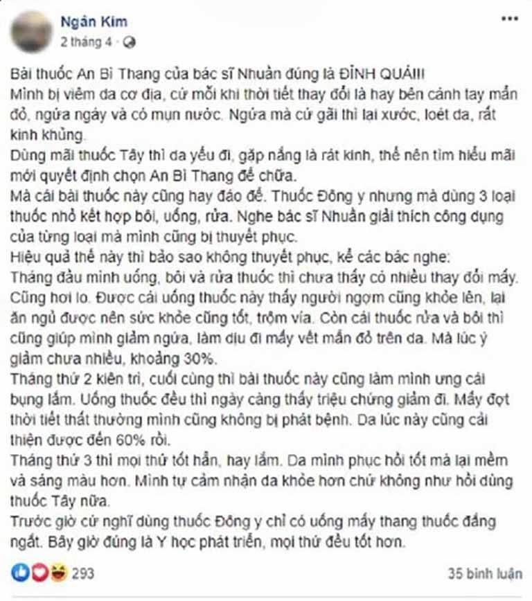 Bạn Ngân Kim chia sẻ hành trình điều trị viêm da cơ địa tại Trung tâm Da liễu Đông y Việt Nam trên facebook cá nhân