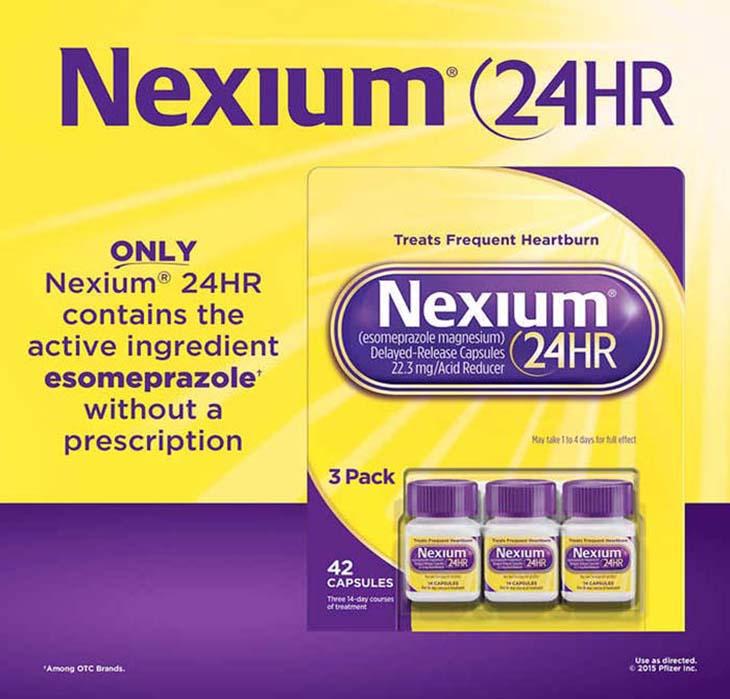 Nexium 24HR có tác dụng giảm chứng trào ngược và tiêu diệt khuẩn HP