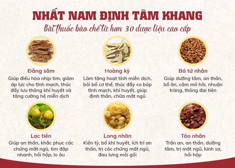 Nhất Nam Định Tâm Khang gồm hơn 30 loại thảo dược tự nhiên