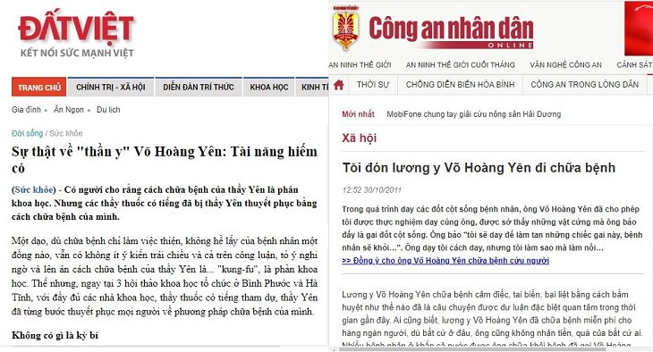Báo chí dành lời khen cho lương y Võ Hoàng Yên