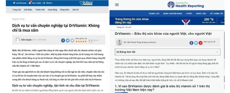 Chất lượng dịch vụ tại Dr Vitamin được báo chí khen ngợi