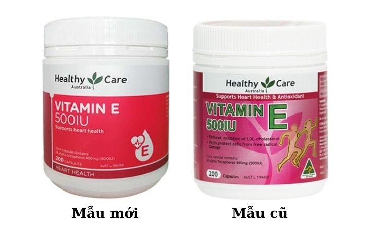 Vitamin E healthy Care với hai mẫu mã cũ và mới
