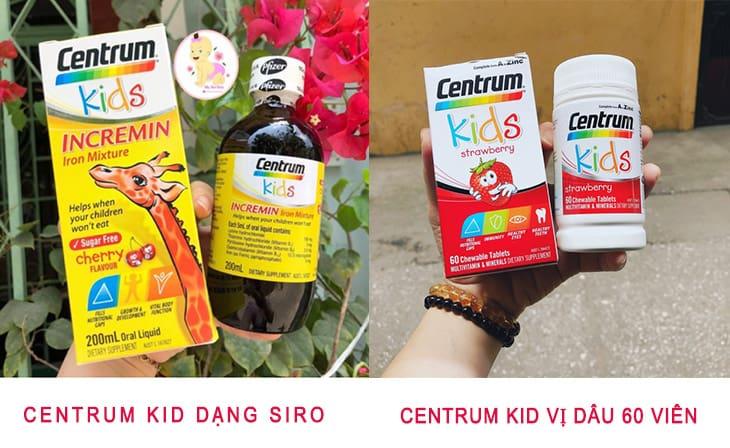 Bao bì Centrum Kid 200ml và Centrum Kid vị dâu 60 viên