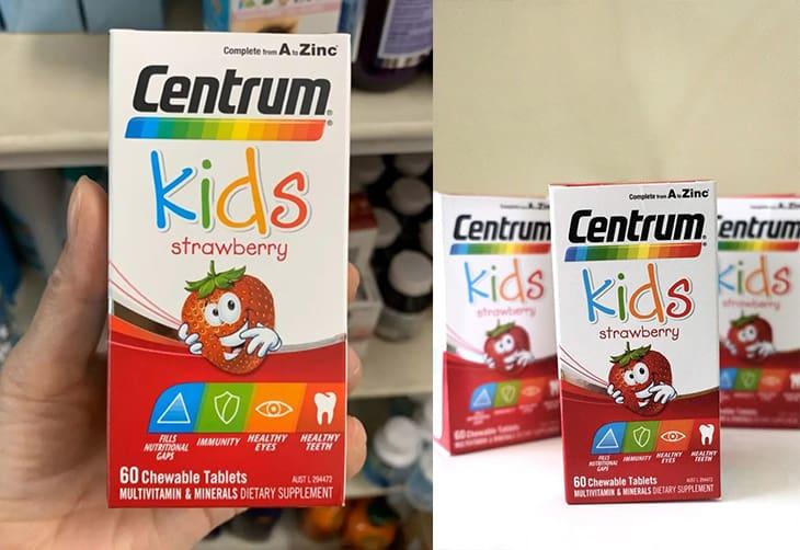 Viên nhai Centrum Kid Úc phù hợp với trẻ trên 3 tuổi