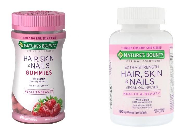 Hai phiên bản sản phẩm của Nature's Bounty Hair Skin and Nails đến từ Mỹ