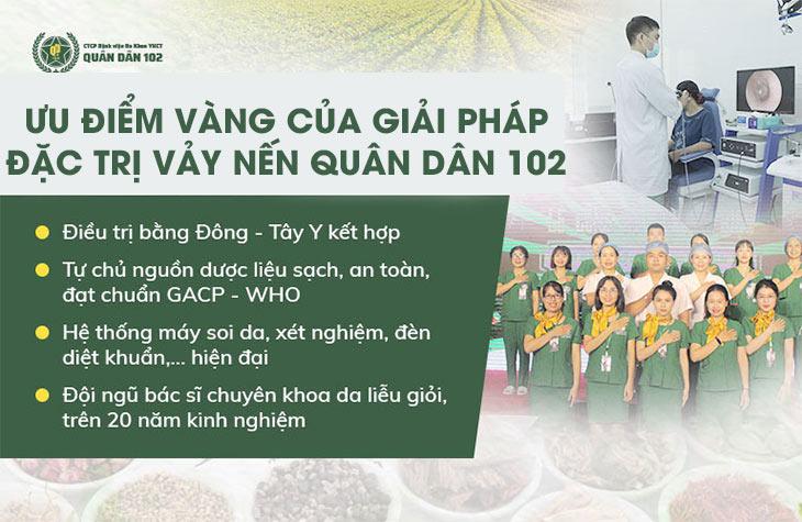 Ưu điểm của giải pháp điều trị vảy nến Quân dân 102