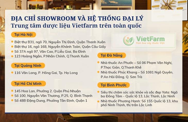 Hệ thống đại lý Trung tâm dược liệu Vietfarm