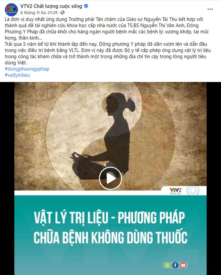 VTV2 giới thiệu Trung tâm Đông phương Y pháp CHỮA BỆNH KHÔNG DÙNG THUỐC
