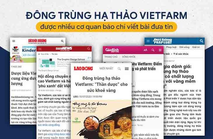 Nhiều trang báo chí chính thông trên cả nước đưa tin về Đông trùng hạ thảo Vietfarm