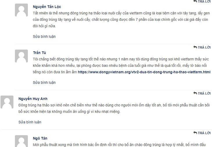 Bình luận của khách hàng trên trang chủ chính của Đông trùng hạ thảo Vietfarm