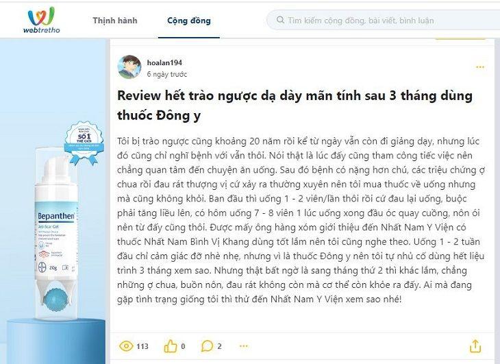 Review của khách hàng trên diễn đàn webtretho