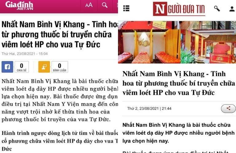 Báo chí đưa tin về bài thuốc Nhất Nam Bình Vị Khang