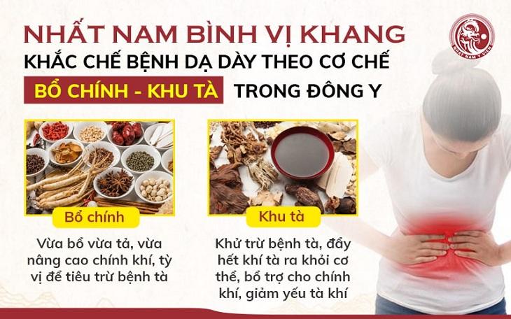 Nhất Nam Bình Vị Khang có tác dụng khu tà, bổ chính, điều trị các chứng bệnh về dạ dày theo đúng nguyên tắc của Đông y