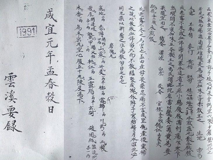 Trích lược trang trong cuốn Vân kê yếu lục của ngự y Nguyễn Địch
