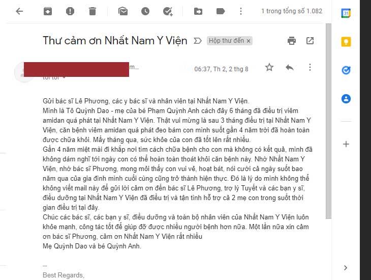 Lá thư chị Quỳnh Dao gửi về hòm thư điện tử của Nhất Nam Y Viện