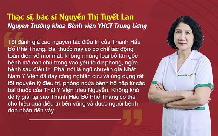 Thạc sĩ, Bác sĩ Nguyễn Thị Tuyết Lan đánh giá cao cơ chế trị bệnh toàn diện, từ gốc của Thanh hầu bổ phế thang