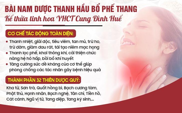 Hoàn thiện bài thuốc Thanh hầu bổ phế thang từ phương pháp điều trị của Ngự y triều Nguyễn