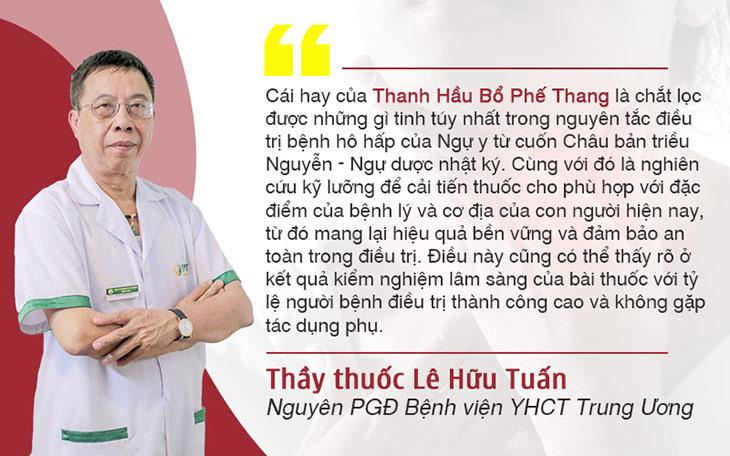 Thầy thuốc ưu tú, bác sĩ Lê Hữu Tuấn đánh giá cao về bài thuốc Thanh hầu bổ phế thang